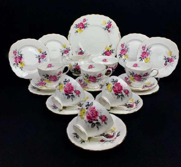 Royal Vale 7515 Pink & Yellow Rose China Tea Set For 6 / 21 Piece / Trio Vintage